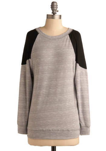 Event Promoter Top - Grey, Black, Casual, Long Sleeve, Fall, Winter, Mid-length