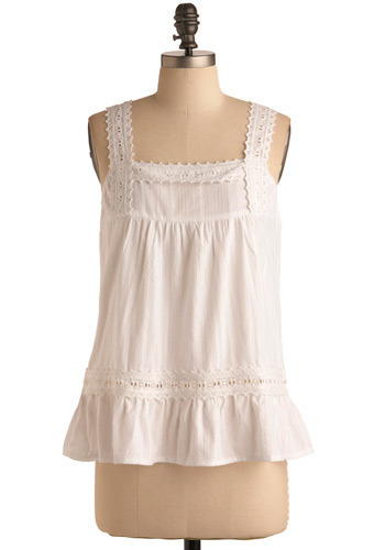 Who, What, White Top - White, Floral, Embroidery, Eyelet, Casual, Tank top (2 thick straps), Spring, Summer, Mid-length