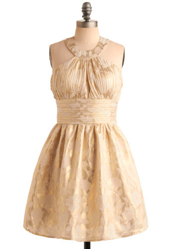 The Finalist Dress in Gold - Cream, Gold, Floral, Cutout, Special Occasion, Prom, Wedding, Party, A-line, Empire, Tank top (2 thick straps), Mid-length