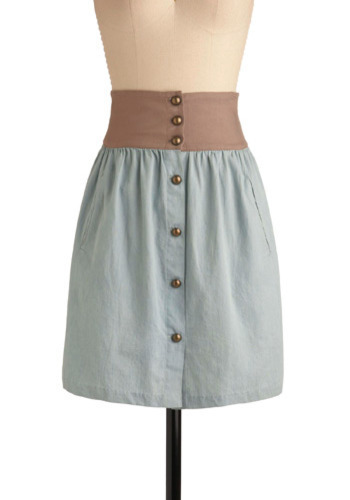 Top Country Classic Skirt - Blue, Tan / Cream, Buttons, Pockets, Casual, Spring, Summer, Mid-length