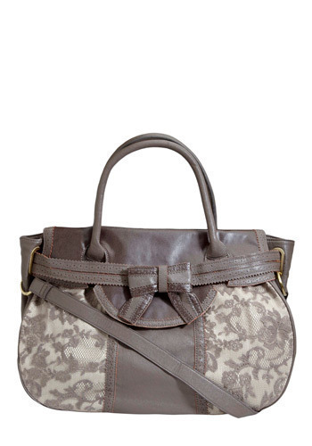 Elegant Embellishments Bag - Brown, White, Floral, Bows, Casual, Luxe, Urban