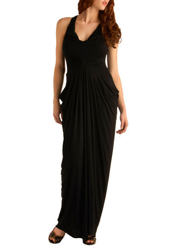 A Grecian Turn Dress - Black, Solid, Backless, Party, Casual, Maxi, Tank top (2 thick straps), Long