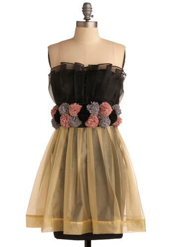 Peony for Your Thoughts Dress - Black, Multi, Yellow, Purple, Pink, Grey, Flower, Pleats, Special Occasion, Prom, Wedding, Party, A-line, Shift, Strapless, Mid-length