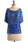 The Kerala Blouse - Blue, Silver, Sequins, Party, 3/4 Sleeve, Mid-length