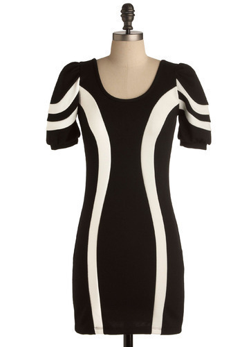 The Open Road Dress - Black, White, Casual, Sheath / Shift, Short Sleeves, Short