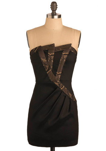 Pointed Petal Dress - Black, Tan / Cream, Solid, Lace, Trim, Party, Casual, Strapless, Mid-length