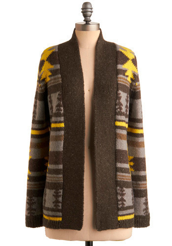 A Chance of Sunshine Cardigan - Yellow, Brown, Grey, Print, Knitted, Casual, Long Sleeve, Fall, Winter, Long