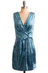 She Wore Blue Velvet Dress - Blue, Solid, Party, Casual, Sheath / Shift, Sleeveless, Short