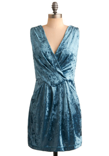 She Wore Blue Velvet Dress - Blue, Solid, Party, Casual, Shift, Sleeveless, Short