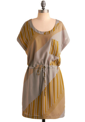 Last Peek of Green Dress - Yellow, Grey, Stripes, Casual, Shift, Short Sleeves, Mid-length