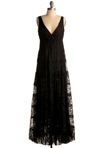 Tender is the Night Dress - Black, Solid, Lace, Casual, Empire, Maxi, Sleeveless, Tank top (2 thick straps), Long