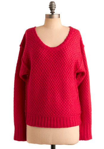 Hey, Hot Stuff Sweater - Pink, Solid, Knitted, Casual, Long Sleeve, Fall, Winter, Mid-length