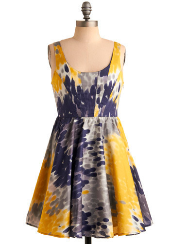 Sunshine on a Cloudy Day Dress - Blue, Multi, Yellow, Grey, White, Formal, Wedding, Party, A-line, Sleeveless, Tank top (2 thick straps), Spring, Summer, Short