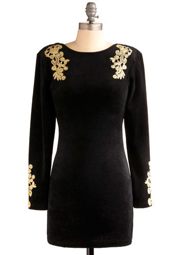 Page of Your Diary Dress by Motel - Black, Gold, Flower, Party, Casual, Luxe, Sheath / Shift, Long Sleeve, Short