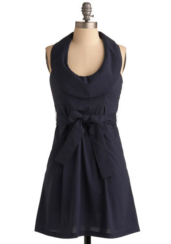 The Unfaltering Halter Dress - Blue, Solid, Bows, Casual, A-line, Halter, Spring, Summer, Short