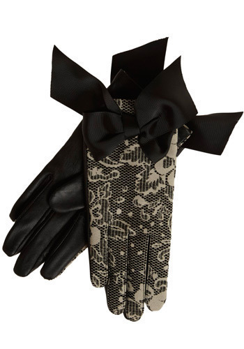Don't Mind If I Do Gloves - Black, White, Floral, Bows, Lace, Special Occasion, Luxe