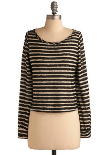 Latest News Top - Cream, Black, Stripes, Casual, Long Sleeve, Fall, Winter, Mid-length