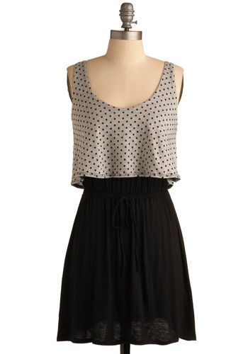Bowling Party Dress - Black, Grey, Polka Dots, Casual, Shift, Tank top (2 thick straps), Short