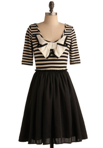 Navigating the Canals Dress - Black, White, Stripes, Bows, Casual, A-line, Twofer, 3/4 Sleeve, Spring, Summer, Short