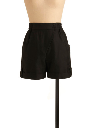 Every Shape Shorts - Black, Solid, Casual, Spring, Summer, Fall, Mid-length