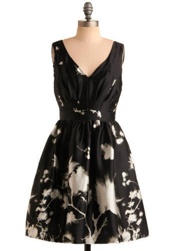See What Develops Dress - Black, White, Floral, Casual, A-line, Sleeveless, Mid-length