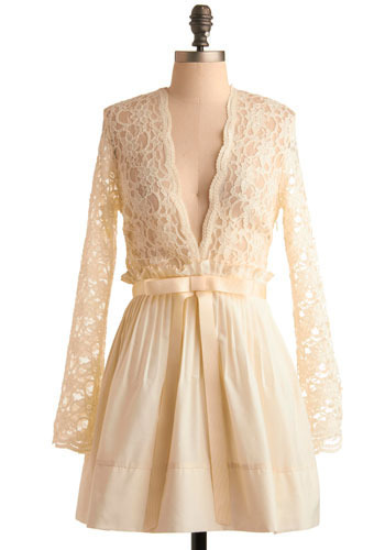 Love Potion Dress - Cream, Floral, Bows, Lace, Pleats, Party, Casual, Vintage Inspired, A-line, Empire, Long Sleeve, Short