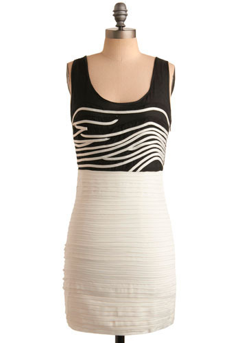 Important Interlude Dress - White, Black, Casual, Shift, Twofer, Tank top (2 thick straps), Short