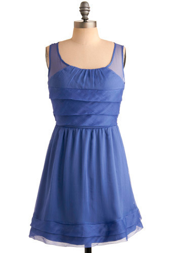 Frozen Lake Dress - Blue, Solid, Cutout, Pleats, Ruffles, Party, Casual, A-line, Sleeveless, Spring, Summer, Short