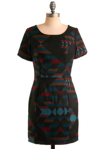 One Night in Scottsdale Dress - Black, Multi, Red, Blue, Brown, Print, Cutout, Casual, Sheath / Shift, Short Sleeves, Short