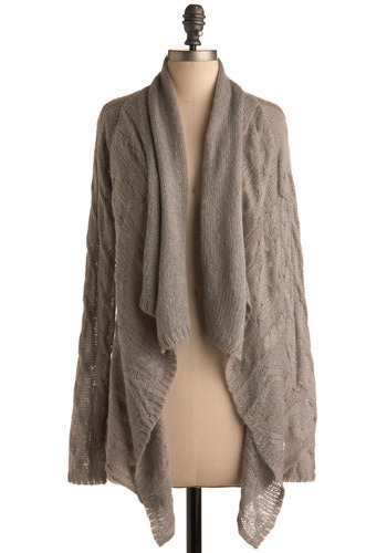 Hush Hush Cardigan - Grey, Solid, Knitted, Long Sleeve, Fall, Winter, Long