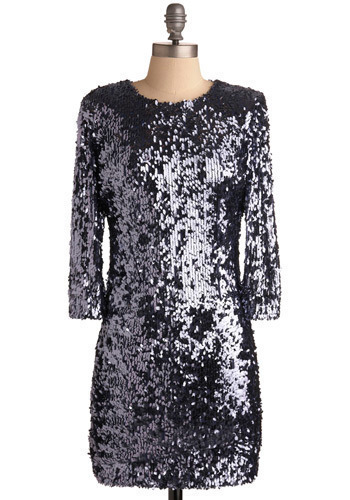 Brings the Party Dress - Silver, Black, Sequins, Party, Shift, 3/4 Sleeve, Short