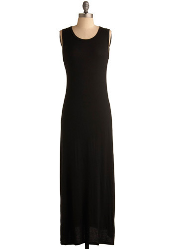 Define Your Day Dress - Black, Solid, Cutout, Casual, Maxi, Shift, Sleeveless, Tank top (2 thick straps), Fall, Winter, Long