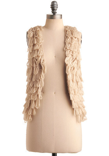 Loop of Faith Vest - Cream, Solid, Casual, Boho, Urban, Spring, Fall, Winter