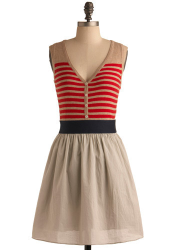 All for Nautical Dress - Red, Brown, Blue, Stripes, Casual, A-line, Sleeveless, Spring, Summer, Mid-length, Press Placement