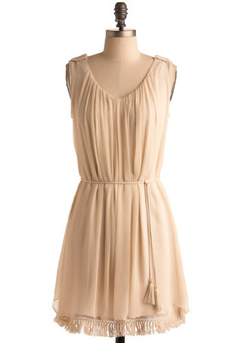 Delphic Sibyl Dress - Cream, Solid, Tassles, Wedding, Party, Casual, A-line, Sleeveless, Mid-length