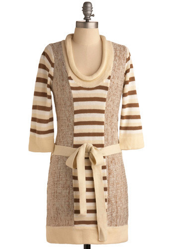 Cinnamon French Toast Dress - Cream, Multi, Brown, Tan / Cream, Stripes, Knitted, Casual, Sweater Dress, 3/4 Sleeve, Fall, Winter, Short