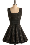 To the Hop Dress - Black, White, Polka Dots, Bows, Pleats, Special Occasion, Prom, Wedding, Party, Vintage Inspired, 50s, Ballerina / Tutu, Empire, Sleeveless, Short