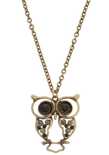 Hoot n' Holler Necklace - Gold, Owls