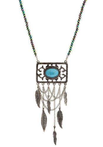 Muse and Metaphor Necklace - Silver, Blue, Casual, Boho, Statement