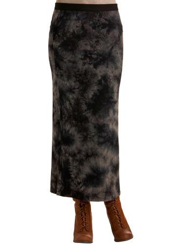 Oceanic Depths Skirt - Blue, Black, Tan / Cream, Tie Dye, Exposed zipper, Casual, Maxi, Spring, Summer, Long