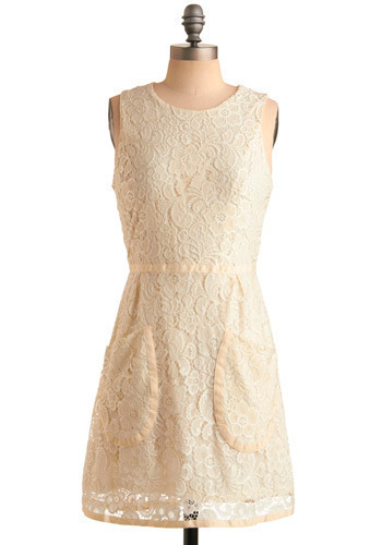 Los Feliz Dress - Cream, Floral, Lace, Trim, Party, A-line, Sleeveless, White, Mid-length