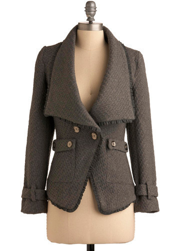 Afternoon Symphony Jacket - Grey, Solid, Buttons, Ruffles, Trim, Work, Casual, Urban, Long Sleeve, Winter, Mid-length, 2.5