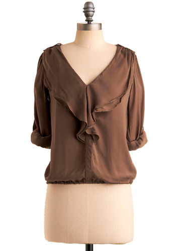 Poem for You Top - Brown, Solid, Epaulets, Ruffles, Party, Work, Casual, Long Sleeve, 3/4 Sleeve, Spring, Summer, Fall, Mid-length