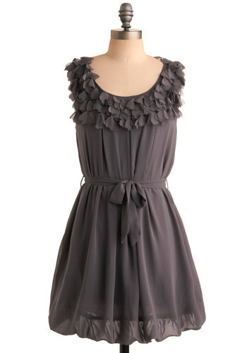 Fallen in Love Dress - Grey, Solid, Casual, A-line, Sleeveless, Short