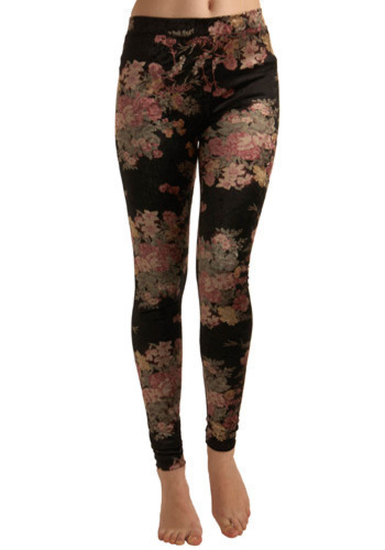 Rolling on the Floral Leggings by Mink Pink - Black, Multi, Yellow, Green, Pink, Floral, Casual, Long