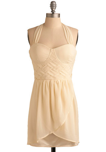 True Confection Dress - Cream, Solid, Bows, Woven, Party, Mini, Wrap, Halter, Spring, Short