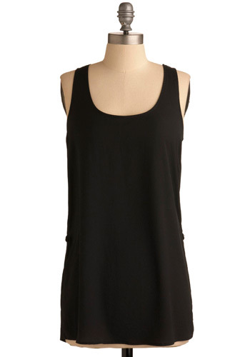 Across Borders Top - Black, Solid, Chain, Special Occasion, Casual, Tank top (2 thick straps), Racerback, Long