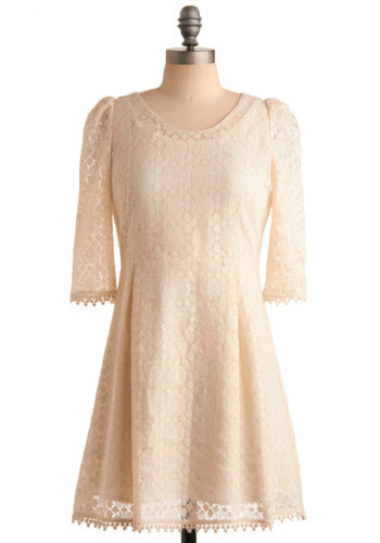 Mascarpone Dress - Cream, Lace, Trim, Formal, Party, Casual, Short Sleeves, Spring, Summer, Boho, Vintage Inspired, 60s, Short, International Designer