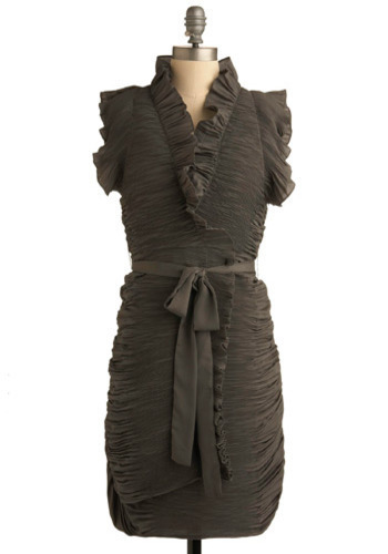 Time For Scrunch Dress by Ryu - Green, Grey, Solid, Ruffles, Casual, Shift, Cap Sleeves, Mid-length