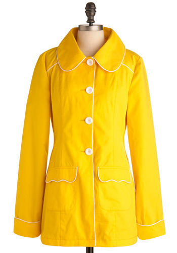Yellow-So-Cute Coat by Tulle Clothing - Long, Press Placement, Exclusives